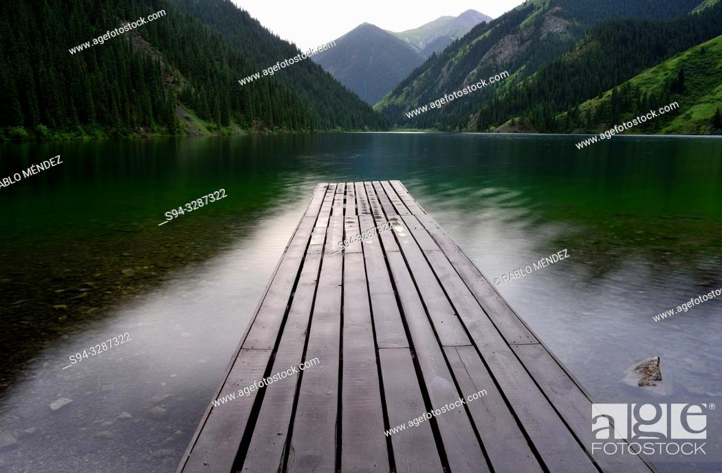 Stock Photo: Jetty in Kolsai lake number One, Kungey Alatau, Kazakhstan.