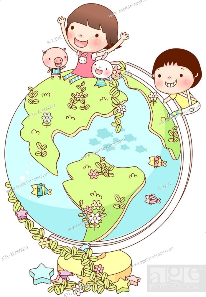 Stock Photo: Friends enjoying on globe.