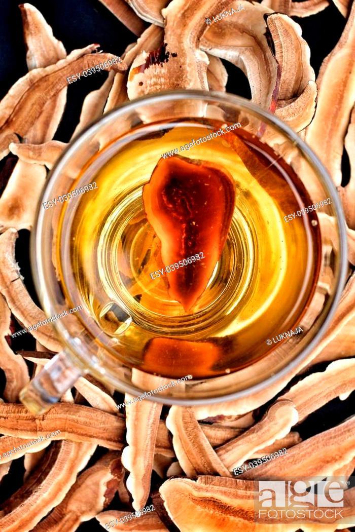 Stock Photo: Ganoderma lucidum and tea cup.