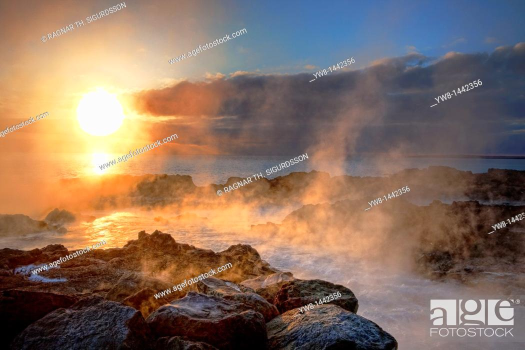Stock Photo: Sunset, lava and steam Area close to the Hitaveita Sudurnesja Geothermal power plant, Iceland.