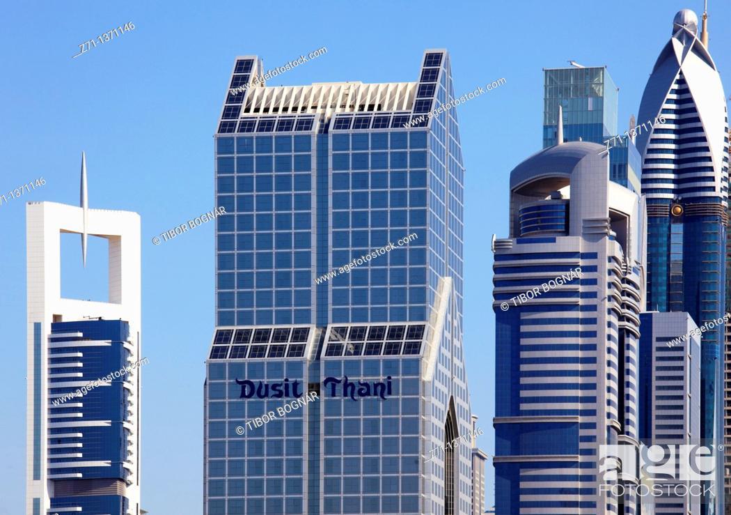 Stock Photo: United Arab Emirates, Dubai, Dusit Thani Hotel, skyscrapers,.