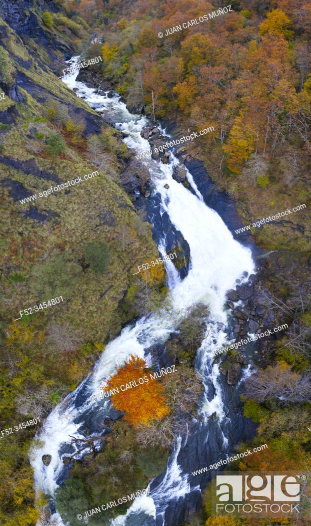 Stock Photo: Waterfalls of the Gándara River, La Gándara, Soba Valley, Valles Pasiegos, Alto Ason, Cantabria, Spain, Europe.