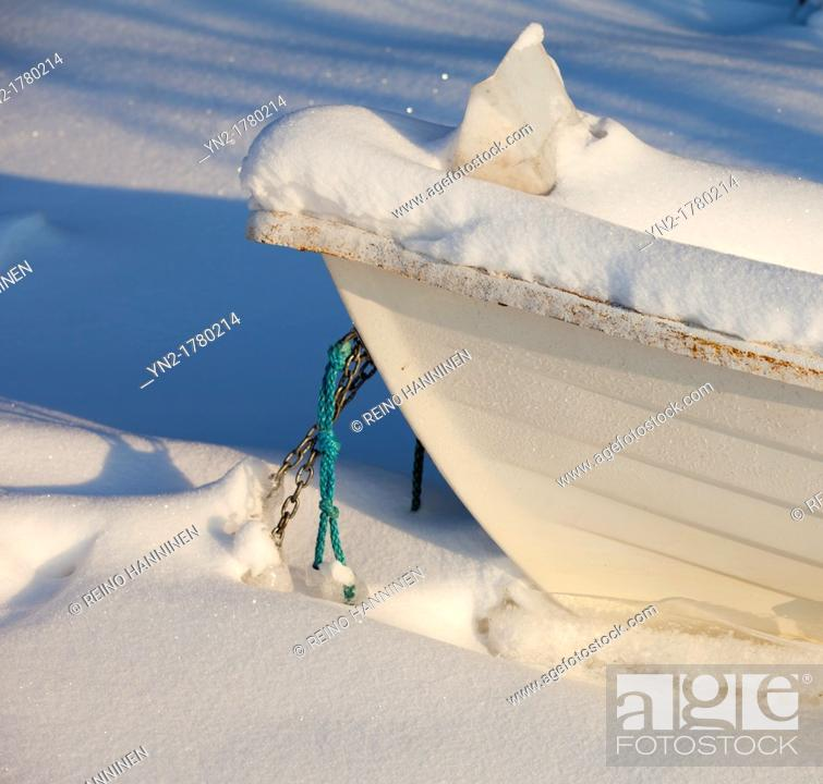 Stock Photo: Rowboat bow at snow  Location Oulu Finland Scandinavia Europe.