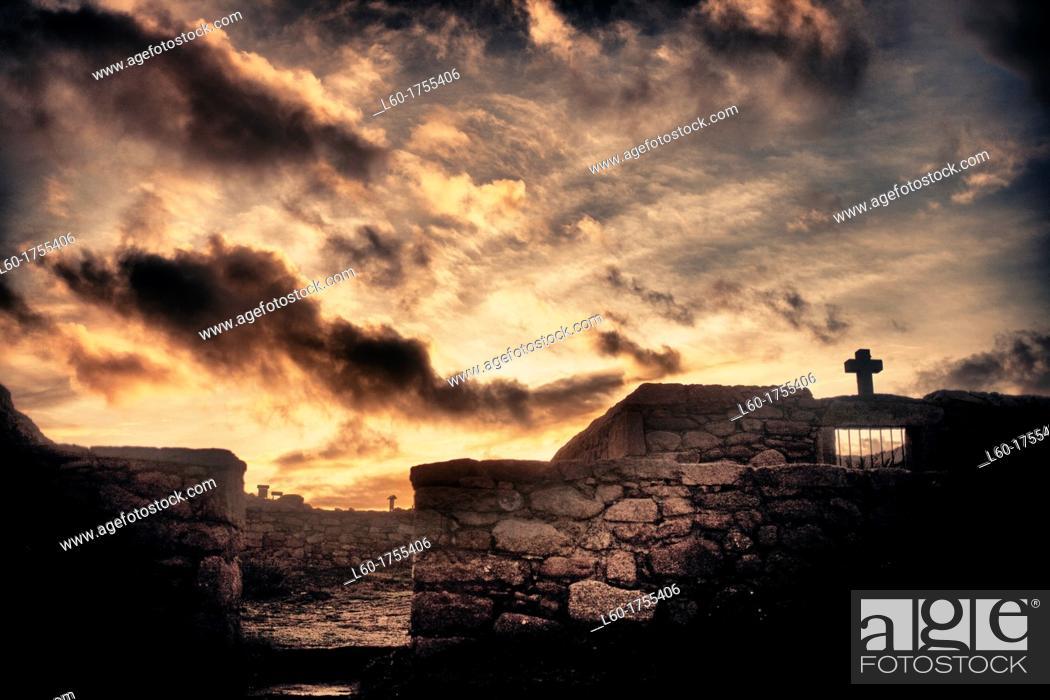 Stock Photo: English cementery in Camariñas, A Coruña, Costa da Morte, Galicia, Spain.