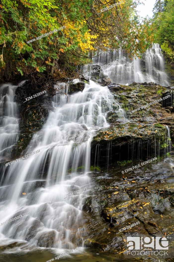 Stock Photo: Beaver Brook Falls Natural Area in Colebrook, New Hampshire USA during the autumn months.