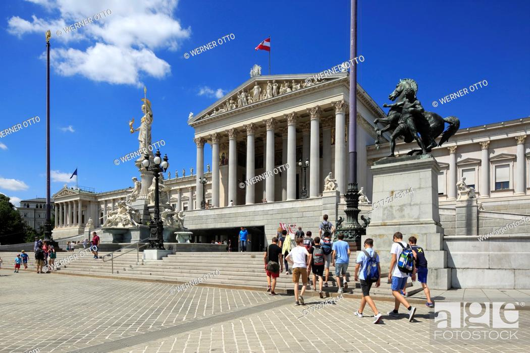 Stock Photo: Austria, A-Vienna, Danube, Federal Capital, Austrian Parliament Building at the Dr. -Karl-Renner-Ring, Vienna Ring Road, classicism, Neoclassicism.