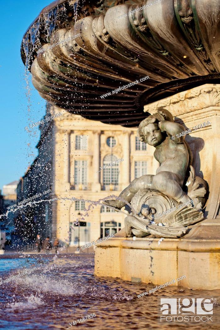 Stock Photo: The Three Graces fountain  Place de la Bourse  Bordeaux  Gironde  Aquitaine  France.