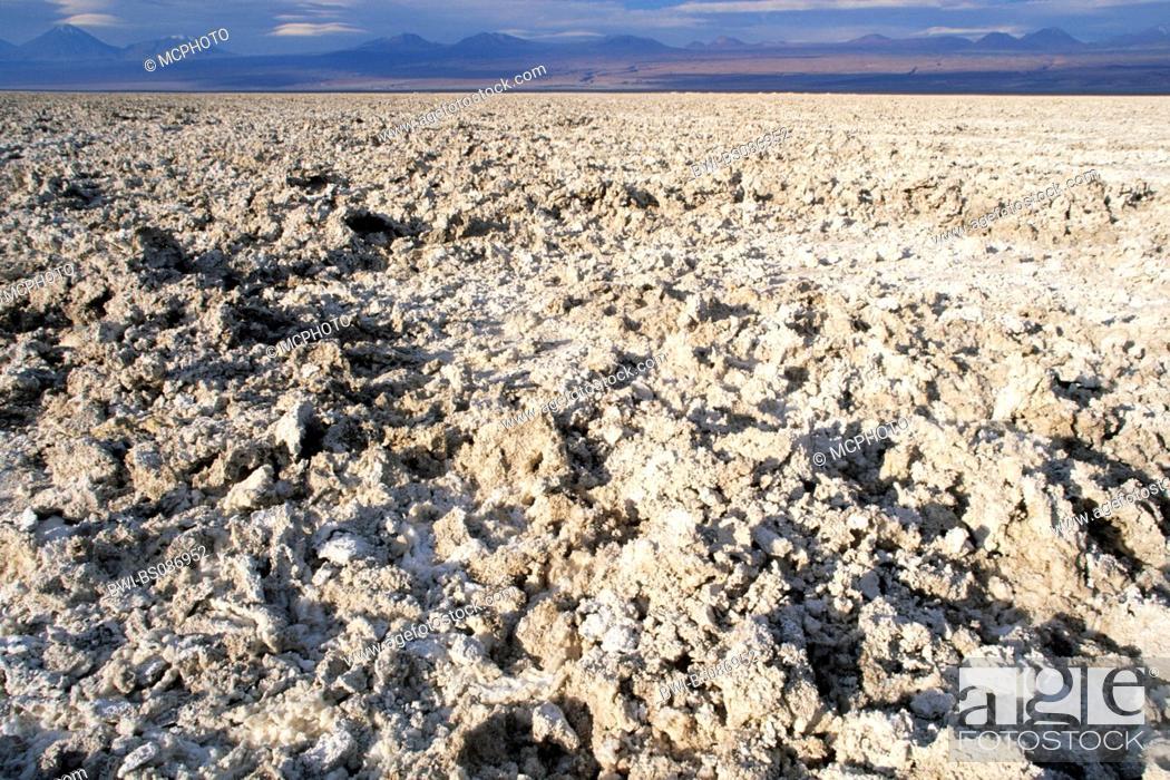 Stock Photo: salt crust on Salar de Atacama, Chile, Atacama Desert.