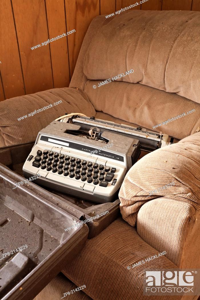 Stock Photo: An old typewriter found in an abandoned house in the District of Parry Sound in Ontario, Canada.