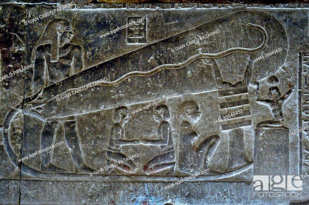 Stock Photo: Dendera Egypt, ptolemaic temple dedicated to the goddess Hathor. Carvings on internal wall. The lamp.