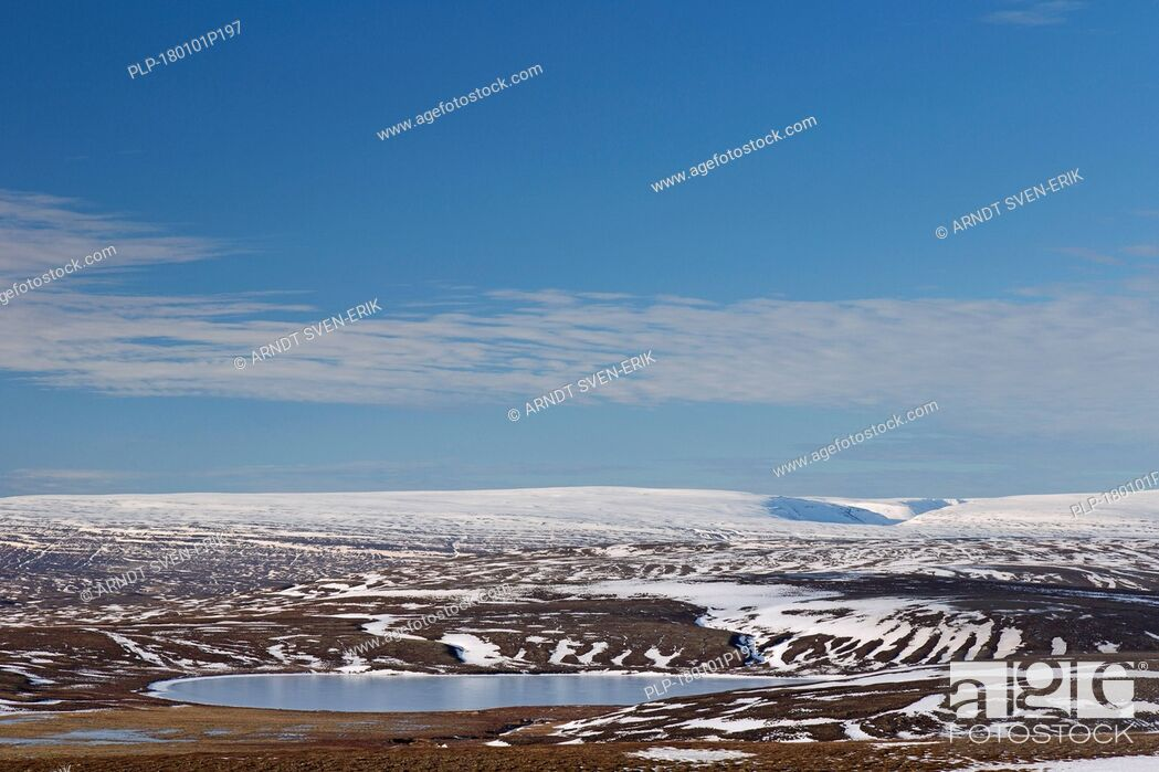 Stock Photo: View over the mountain range Lambafjöll / Lambafjoell in winter, Northeastern Region / Norðurland eystra, Iceland.
