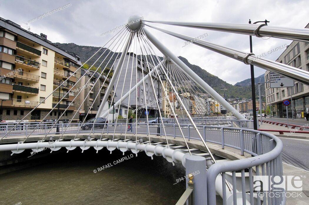 Stock Photo: Bridge over the Gran Valira river, Mitjavila avenue, Andorra la Vella, Andorra.