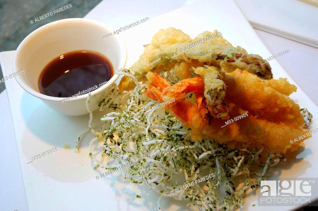 Stock Photo: Tempura Moriawase (Assortment of Shrimp and Vegetable Tempura).'Riba-Sushi Bar'. Girona, Catalonia , Spain.