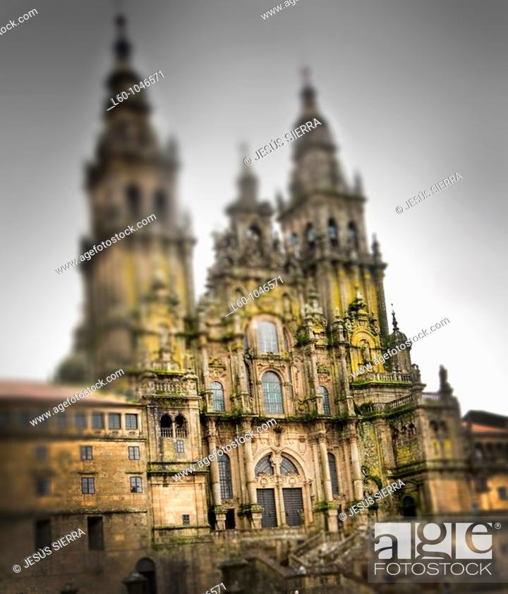 Stock Photo: The cathedral of Santiago de Compostela is the destination of the important medieval pilgrimage route, the Way of St James  Galicia, spain.