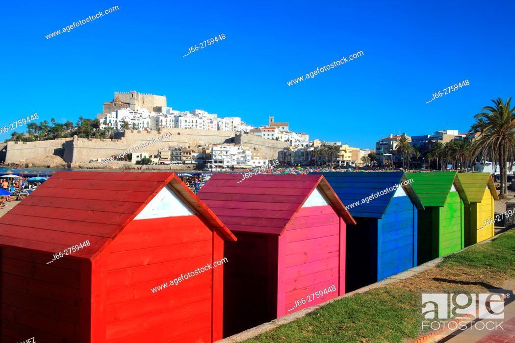 Stock Photo: Colored deckhouses on the beach in Peñíscola. Castellón.