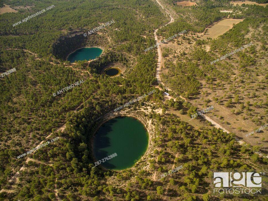 Stock Photo: Aerial photography using a drone: Lagunas de Cañada del Hoyo Natural Monument, Serranía de Cuenca, Cuenca province, Castilla-La Mancha, Spain.