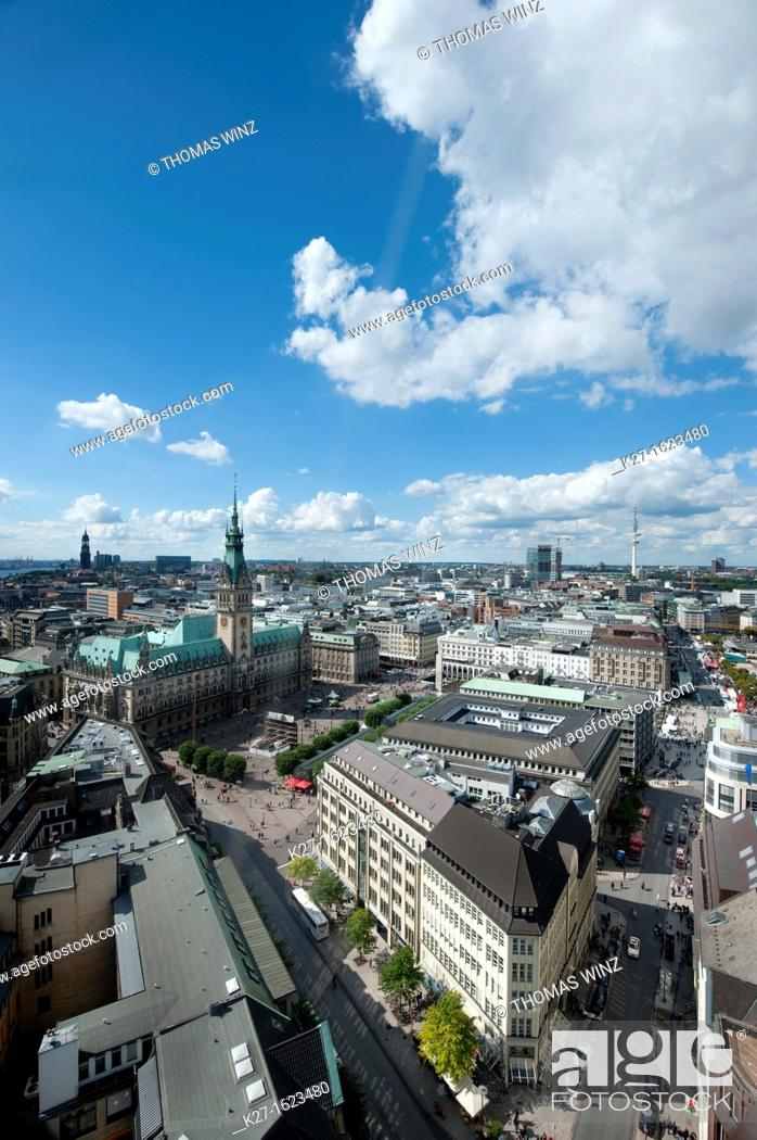 Stock Photo: View over Hamburg from St Petri church, Germany.
