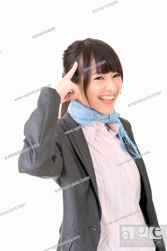 Stock Photo: Young business woman has an idea.