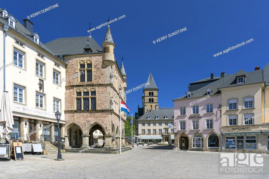 Stock Photo: Europe, Luxembourg, Echternach, Denzelt (Historic Courthouse) on the corner of Place du Marche.