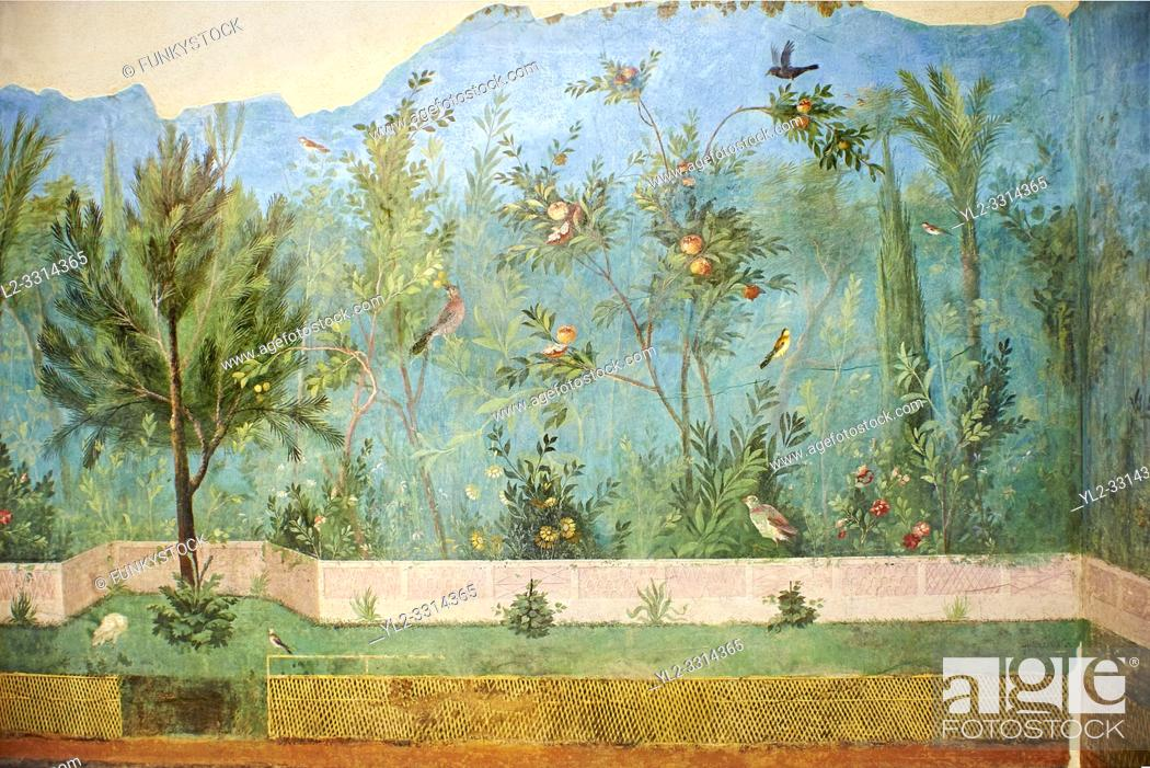 Stock Photo: Painted Domestic Pine in the Roman fresco of a garden from Villa Livia (Early first century AD), Rome, Livia was the wife of Roman emperor Augustus.