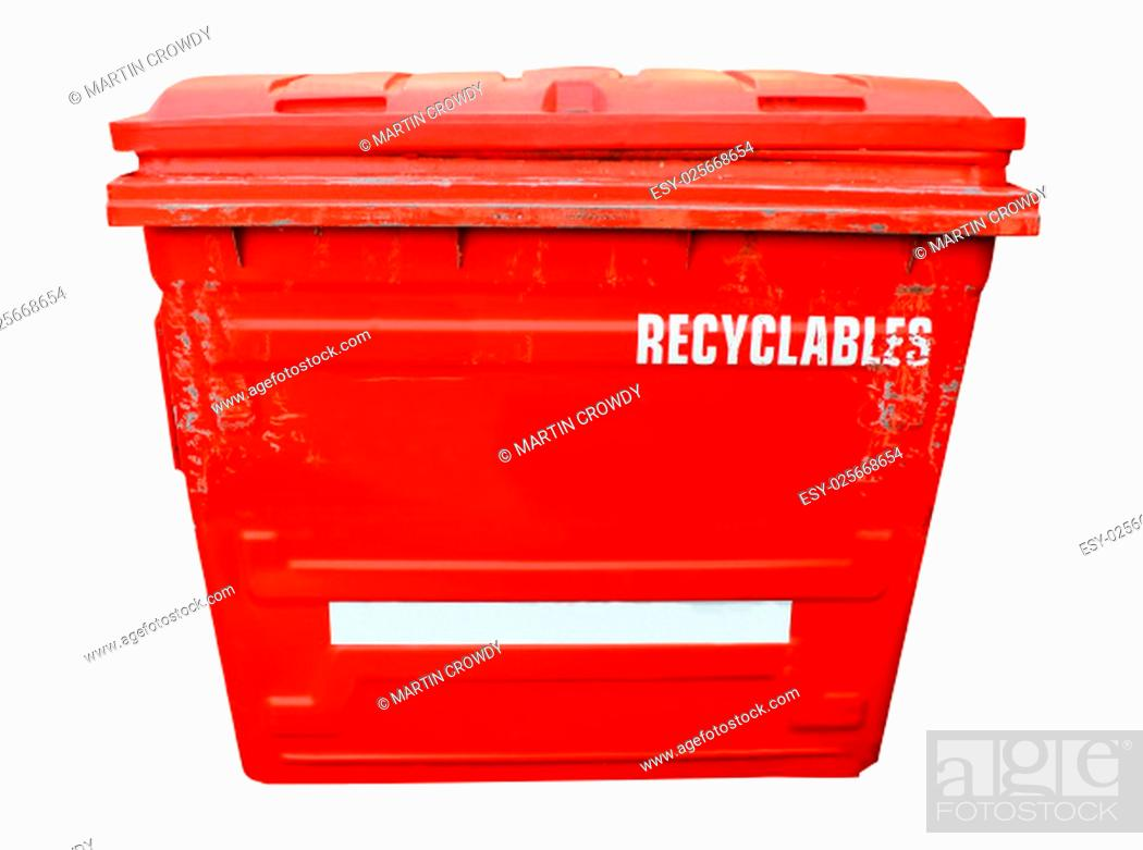 Stock Photo: Red industrial recycling bin on a white background.