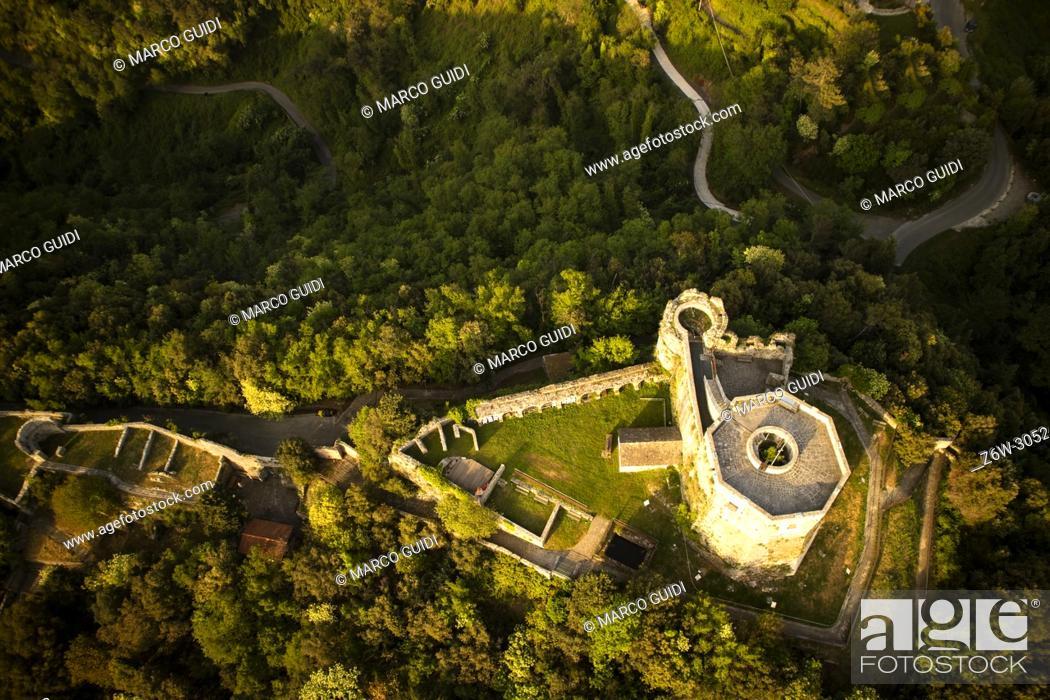Stock Photo: High angle view of the small castle of Aghinolfi in Montignoso, Massa, Italy.