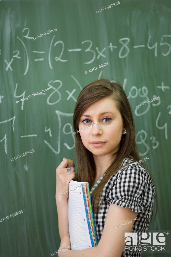 Stock Photo: Student girl, looking at camera, Debica, Poland.