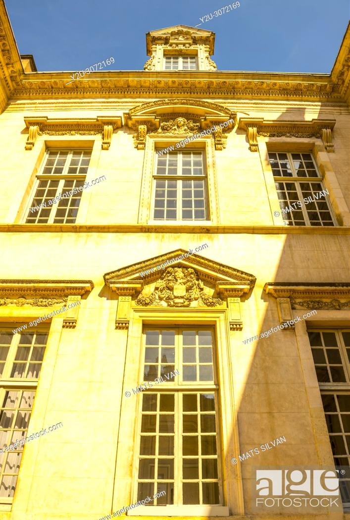 Stock Photo: Town Hall on Liberation Square in a Sunny Day with Blue Sky in Dijon, Burgundy, France.