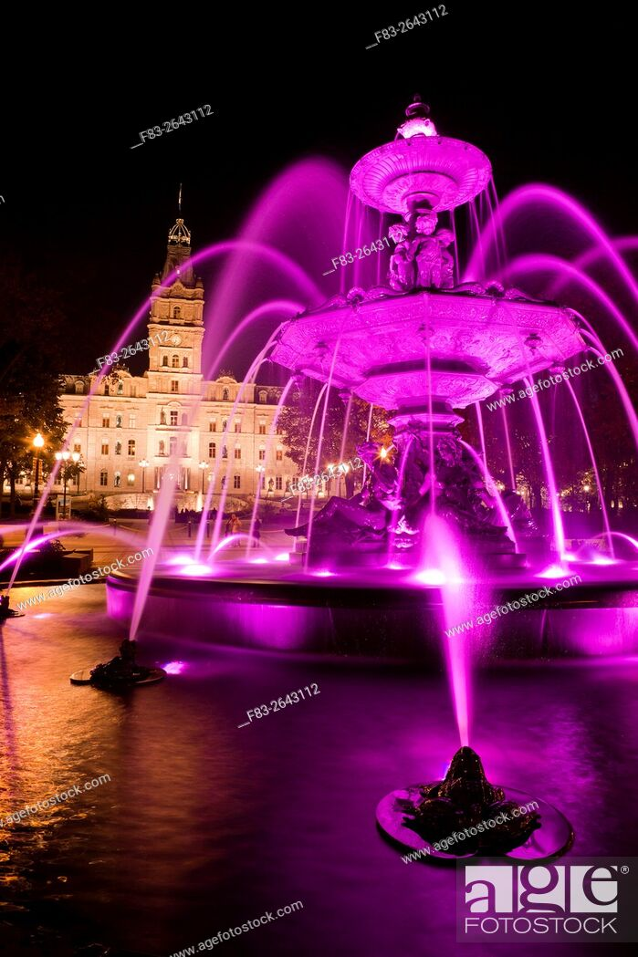 Stock Photo: Fountain and Parliament Building, Hotel du Parlement, Quebec City, Quebec, Canada, night.