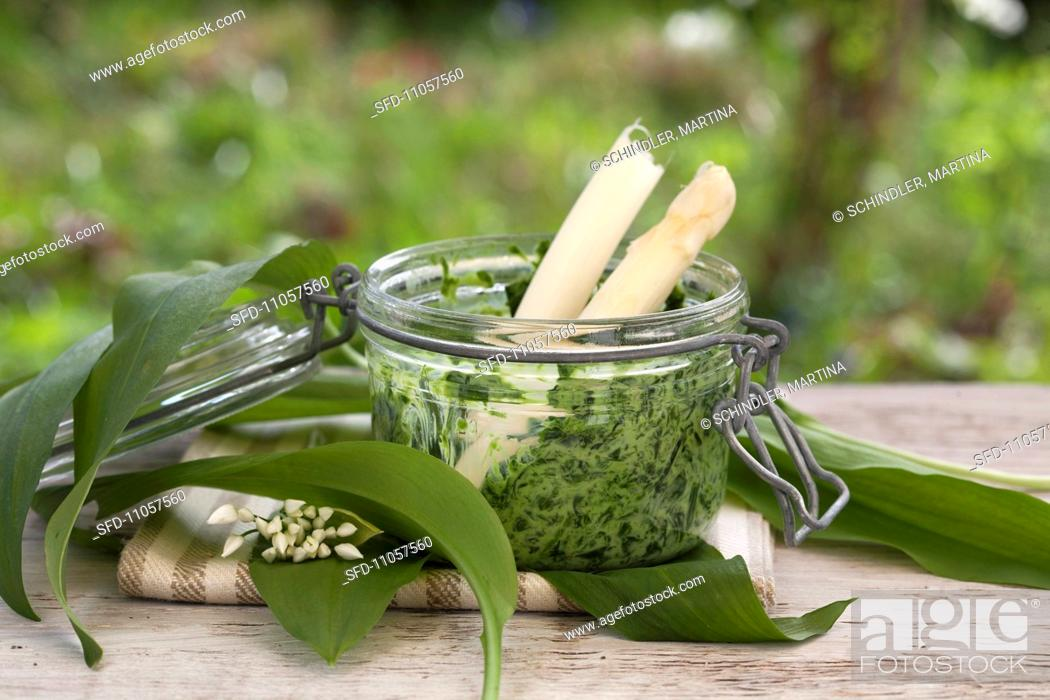 Stock Photo: Ramson and stinging nettle pesto with white asparagus.