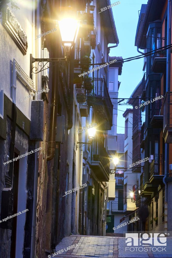 Stock Photo: Streetlamp, exterior lighting, Mundaka. Bizkaia. Basque Country. Spain.