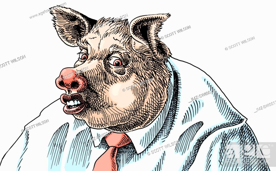 Stock Photo: An illustration of a of a businessman adapted into a pig wearing a pink tie.