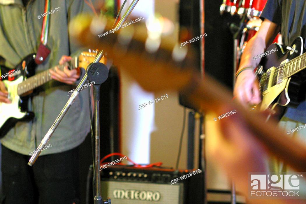 Stock Photo: Music, singing, guitar.