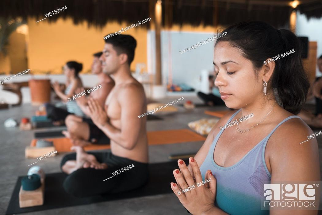 Stock Photo: Yoga class retreat Puerto Vallarta - Mismaloya, Mexico.