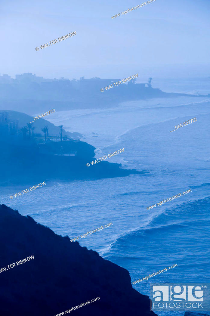 Stock Photo: Morocco. Atlantic Coast. Taghazout: Atlantic Coast in morning mist.