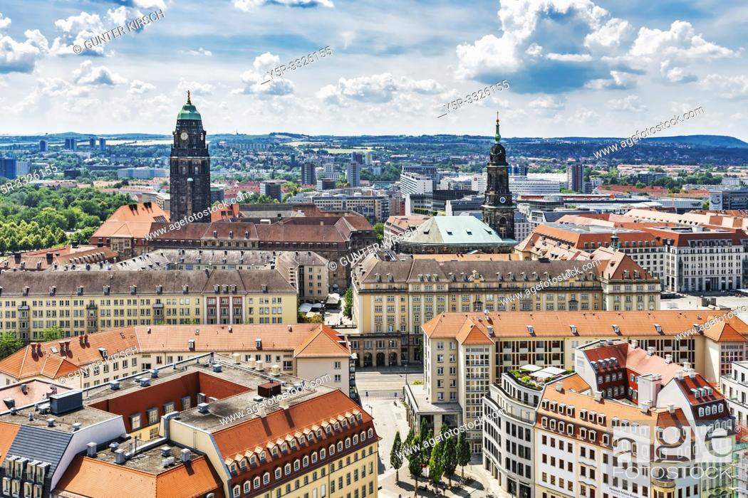 Stock Photo: View over the Neumarkt to the tower of the New Town Hall (left) and to the tower of the Kreuzkirche (Church of the Holy Cross), Dresden, Saxony, Germany, Europe.
