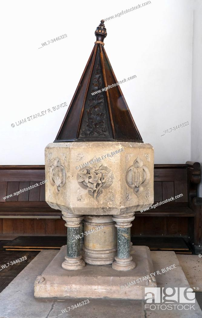 Stock Photo: Font dating from around 1840 as it belonged to the original Chapel, it stands on four marble pillars, St Catherine church Hoarwithy Herefordshire UK.