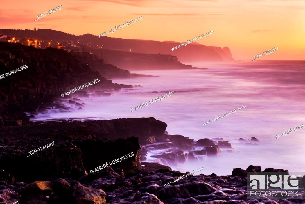 Stock Photo: Sunset in the Portuguese Coast.