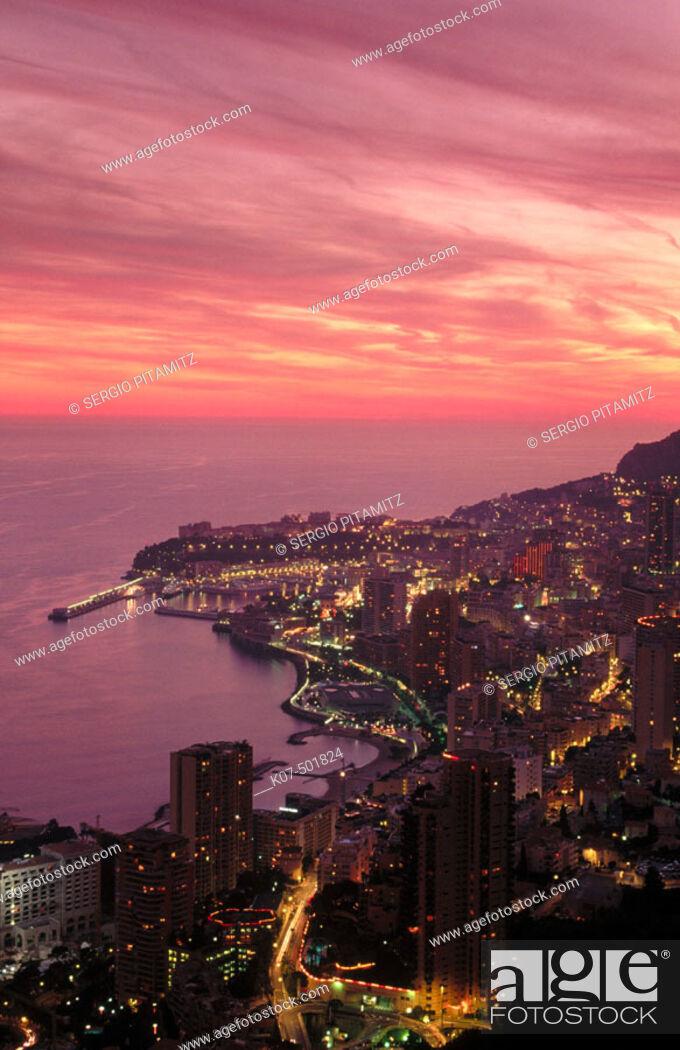 Stock Photo: Montecarlo at dusk. Côte d'Azur, Monaco.