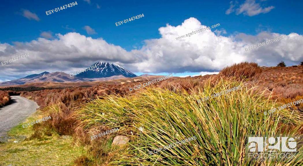 Stock Photo: Mount Ngauruhoe in Tongariro National Park.