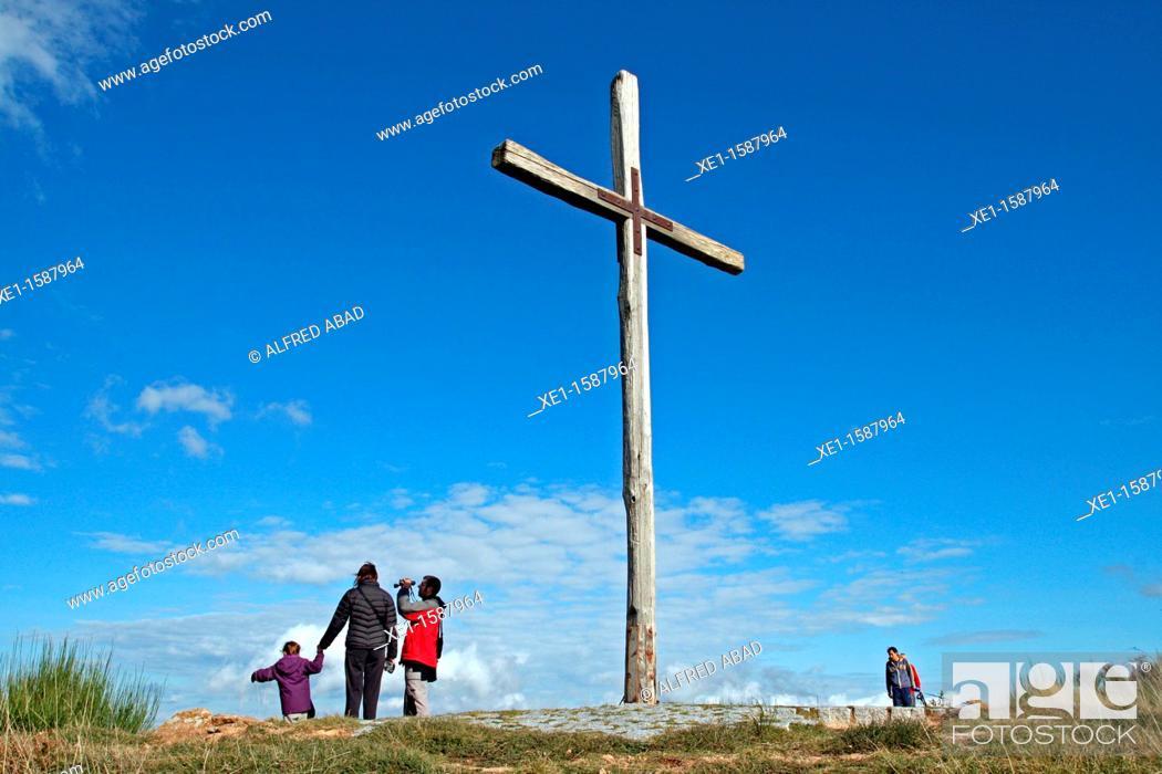 Stock Photo: cross of Sant Marçal, Montseny Natural Park, Catalonia, Spain.