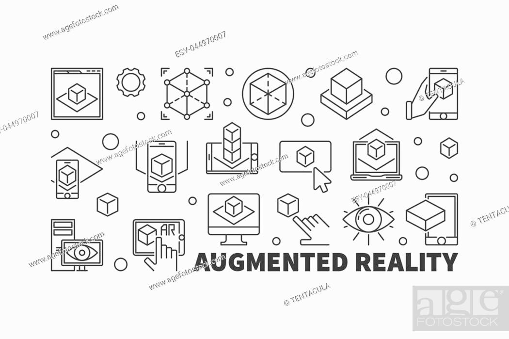 Stock Vector: Augmented reality vector horizontal illustration made with AR thin line icons on white background.