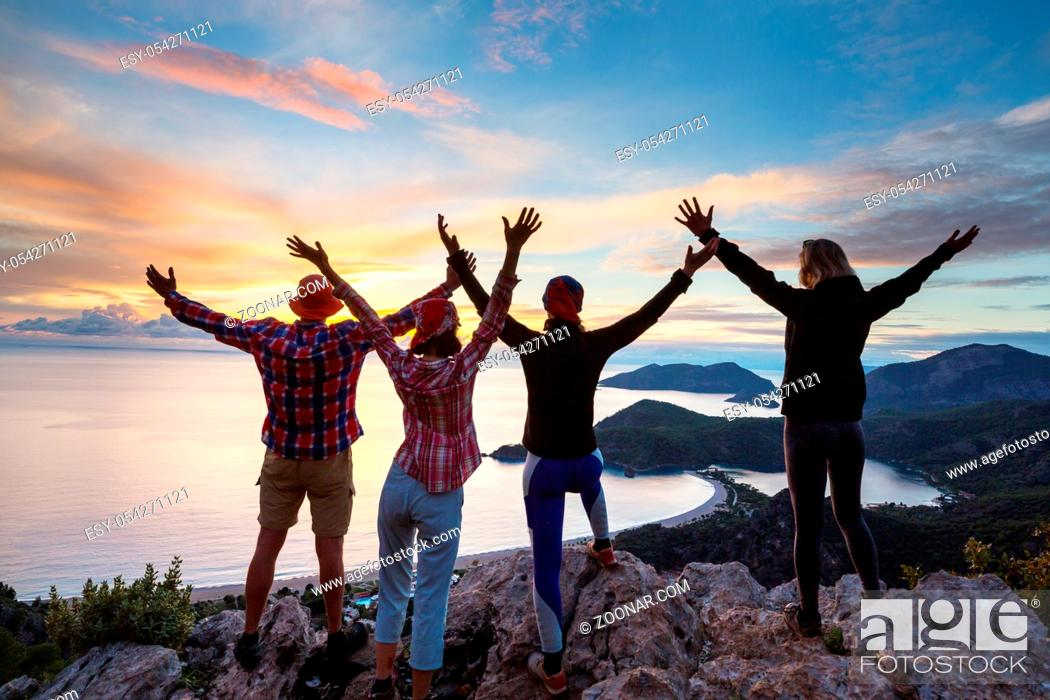 Stock Photo: People in hike in the mountains.