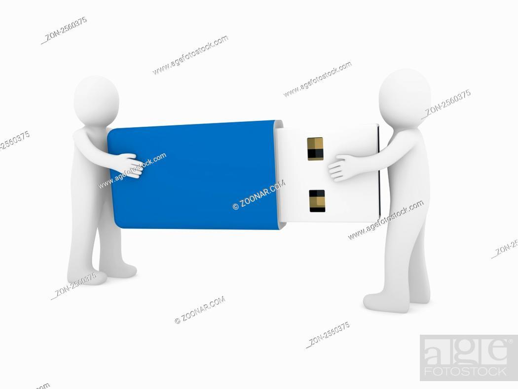 Stock Photo: 3d human men usb stick blue plug memory.