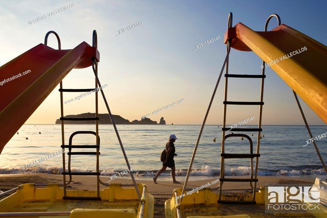 Stock Photo: L'Estartit  Pedal boats in Gran beach  In background Medes Islands Costa Brava  Girona province  Catalonia  Spain.