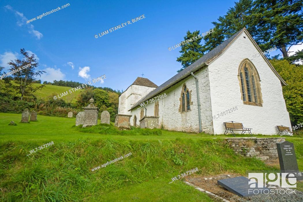 Stock Photo: St Mary church Built around the 14th century, it stands on Bryn Glas Hill the site of the battle of Bryn Glas which took place in 1402 between Owain Glyndwr and.