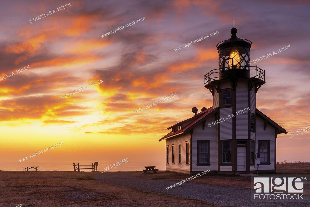 Stock Photo: Sunset on Point Cabrillo Lighthouse Mendocino CA USA.