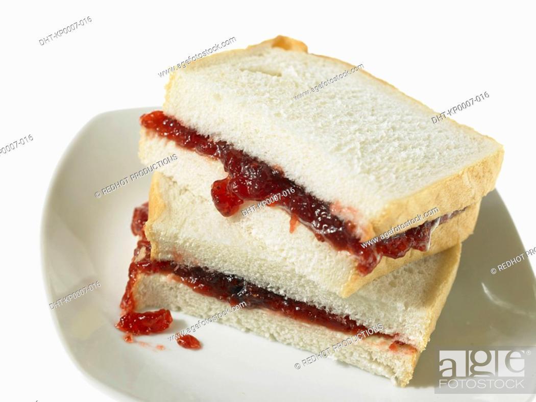 Stock Photo: Jam Sandwich on White Bread.