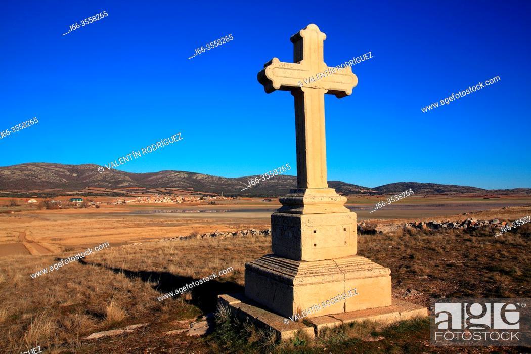 Stock Photo: Cross in the hermitage of the Virgen del Buen Recuerdo. Wildlife reserve of Gallocanta. Zaragoza province. Spain.