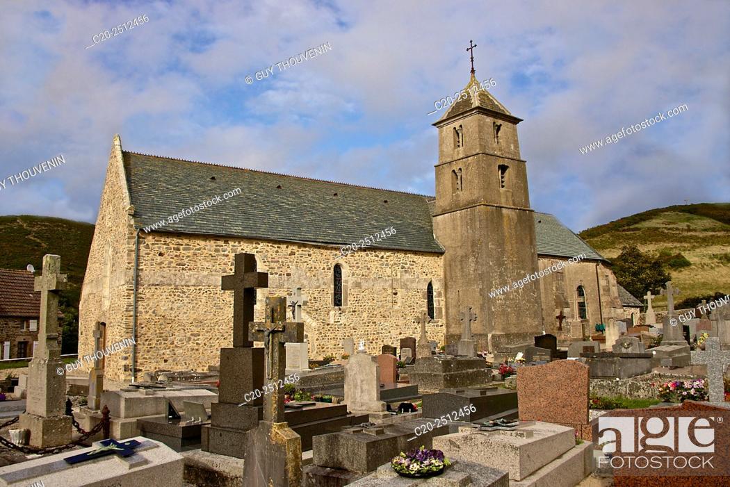 Stock Photo: Vauville church ( 12th c. ), and churchyard, Vauville gardens, Vaudeville, Cotentin, Normandy, France.